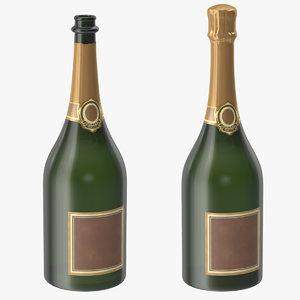 champagne bottle open closed c4d
