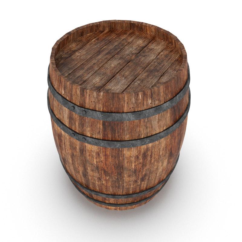 3d model wood barrel