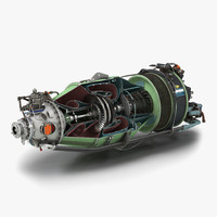 turboprop aircraft engine canada 3d model