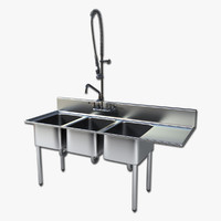 Commercial Triple Sink