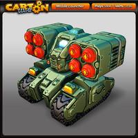 cartoon missile launcher 3d model