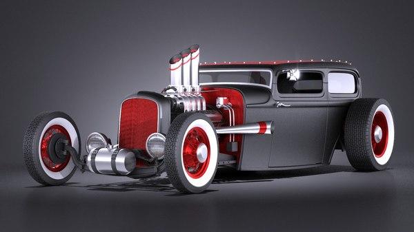 3d model hotrod 1929 ratrod