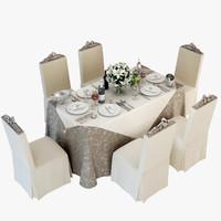 3d max restaurants banquet table
