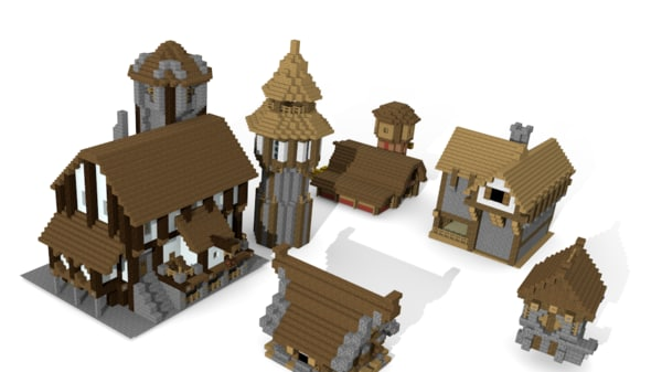 3d model medival minecraft buildings