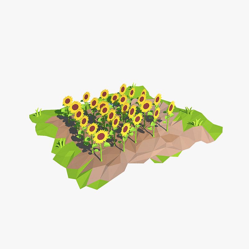 3d sunflower cartoon sun model