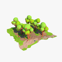 3d apple orchard cartoon model