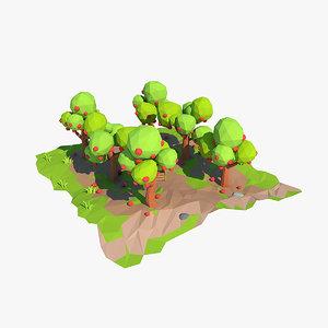 3d apple orchard cartoon model
