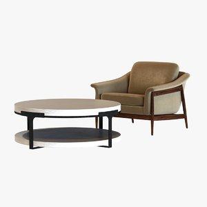 chair table holly hunt 3d obj