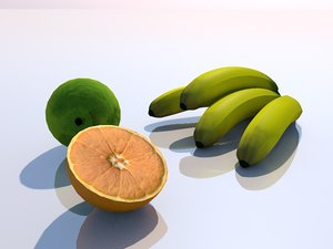 3d model composition fruits breakfast