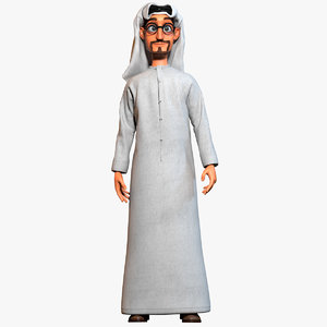 3d rigged cartoon arab man body