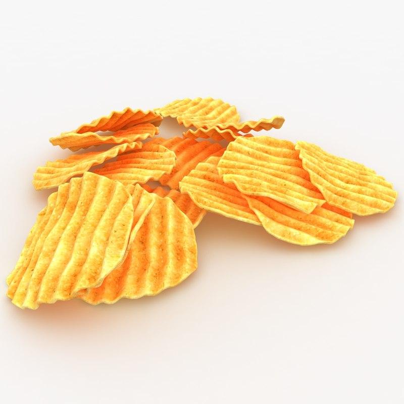 3d 3ds realistic veggie chip 3