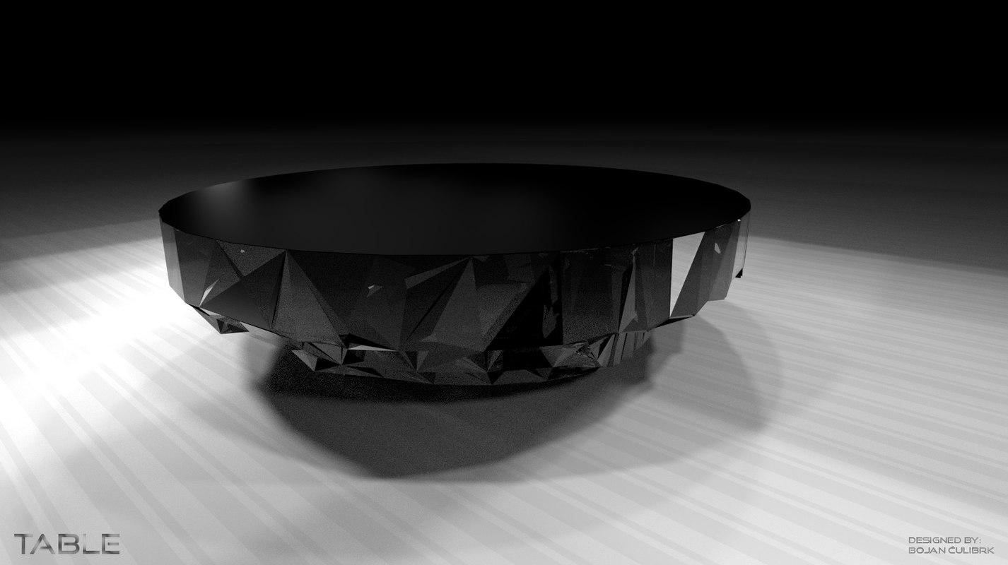 3d black star table