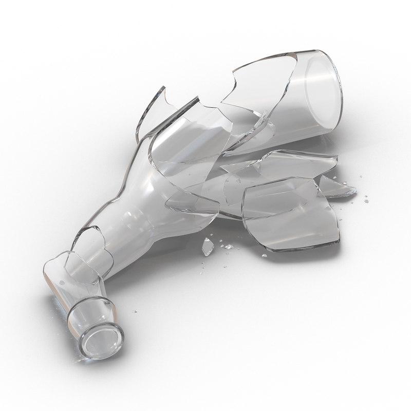 broken beer bottle 3d model
