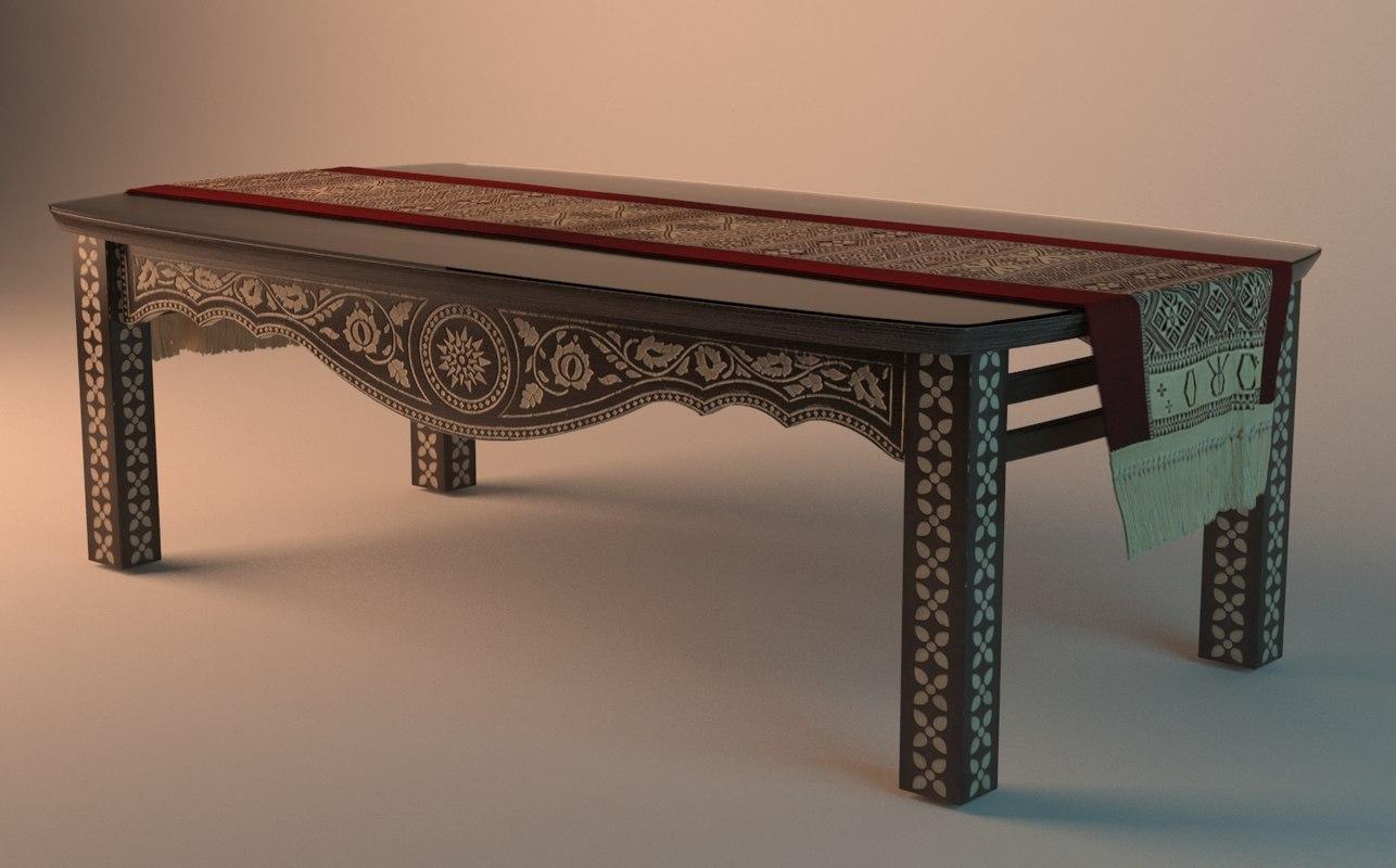 3d model of table wood arabesque