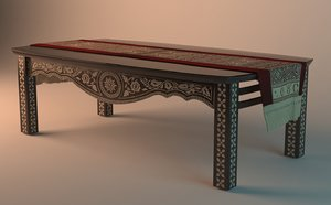 3d model of table wood arabesque