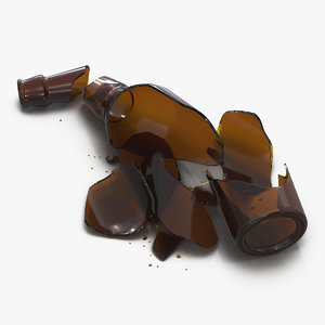 3d broken beer bottle brown