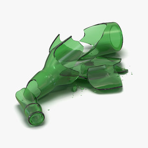 broken beer bottle green 3d model