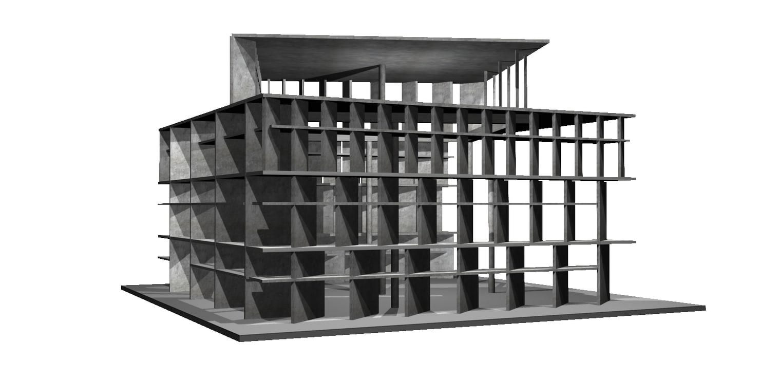 3d tower shadows le corbusier
