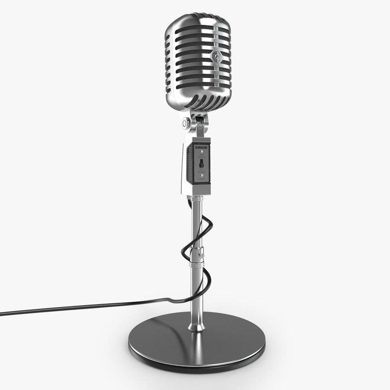 retro microphone 3d max