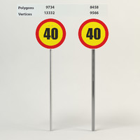 3d traffic sign restricting speed