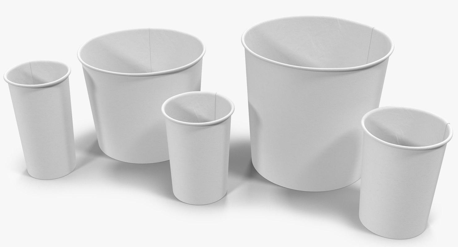 paper cups 3d obj