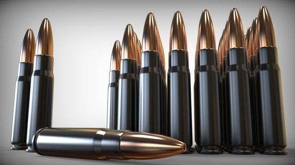 7 62x39 rounds 3d obj