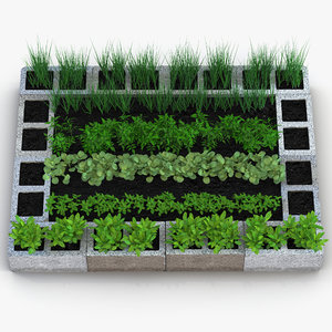 3d cinder block garden modeled model