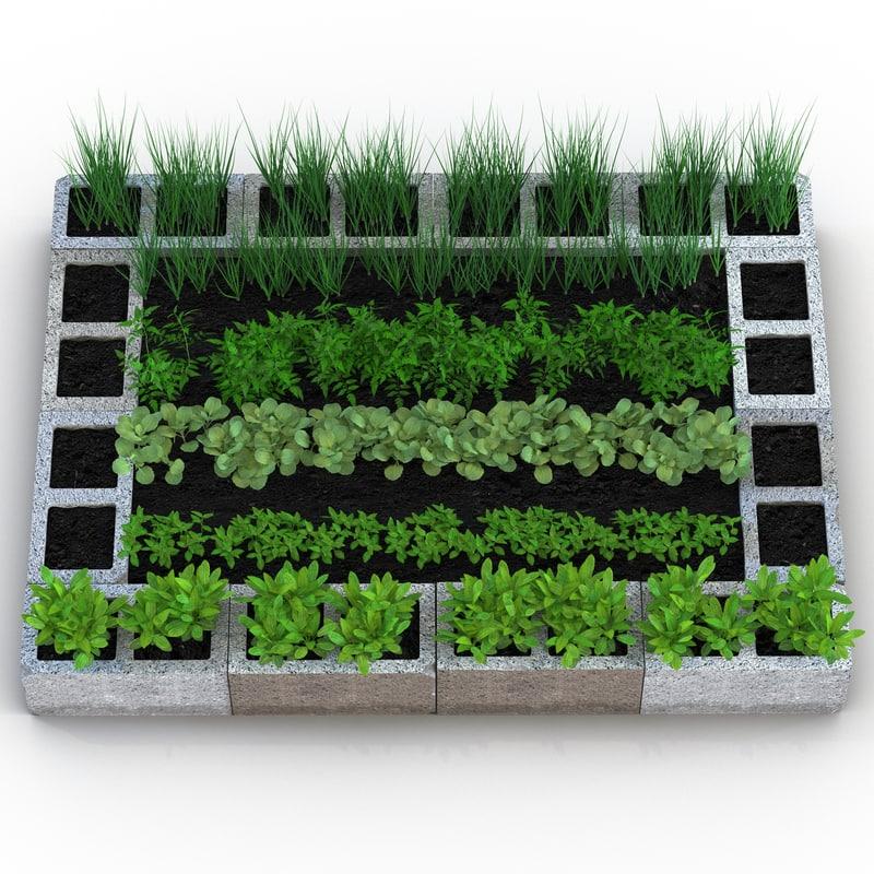 3d cinder block garden modeled model