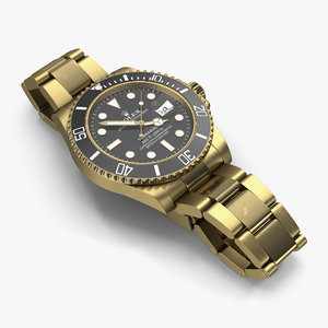 3d rolex submariner date gold model