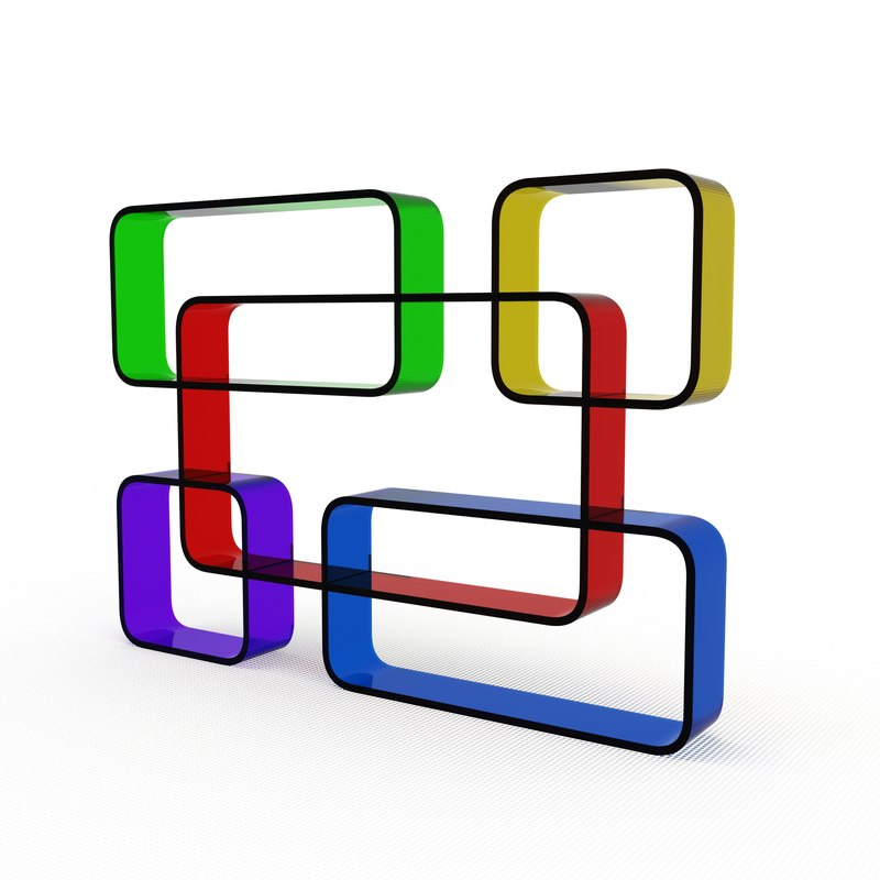 3d model color plexi acrylic shelves