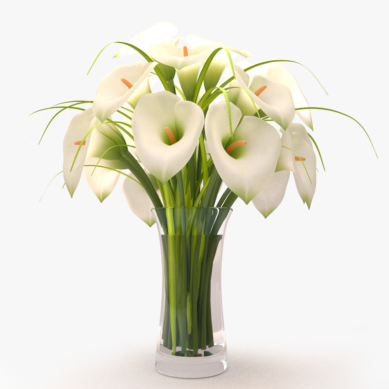 callas lilies bouquet 3d 3ds