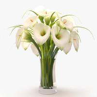 callas lilies bouquet 3d 3ds