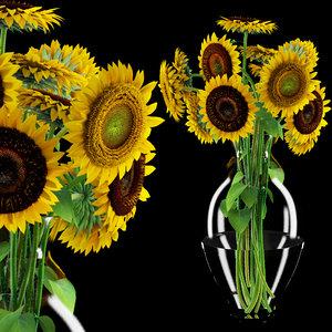 3d sunflower flower