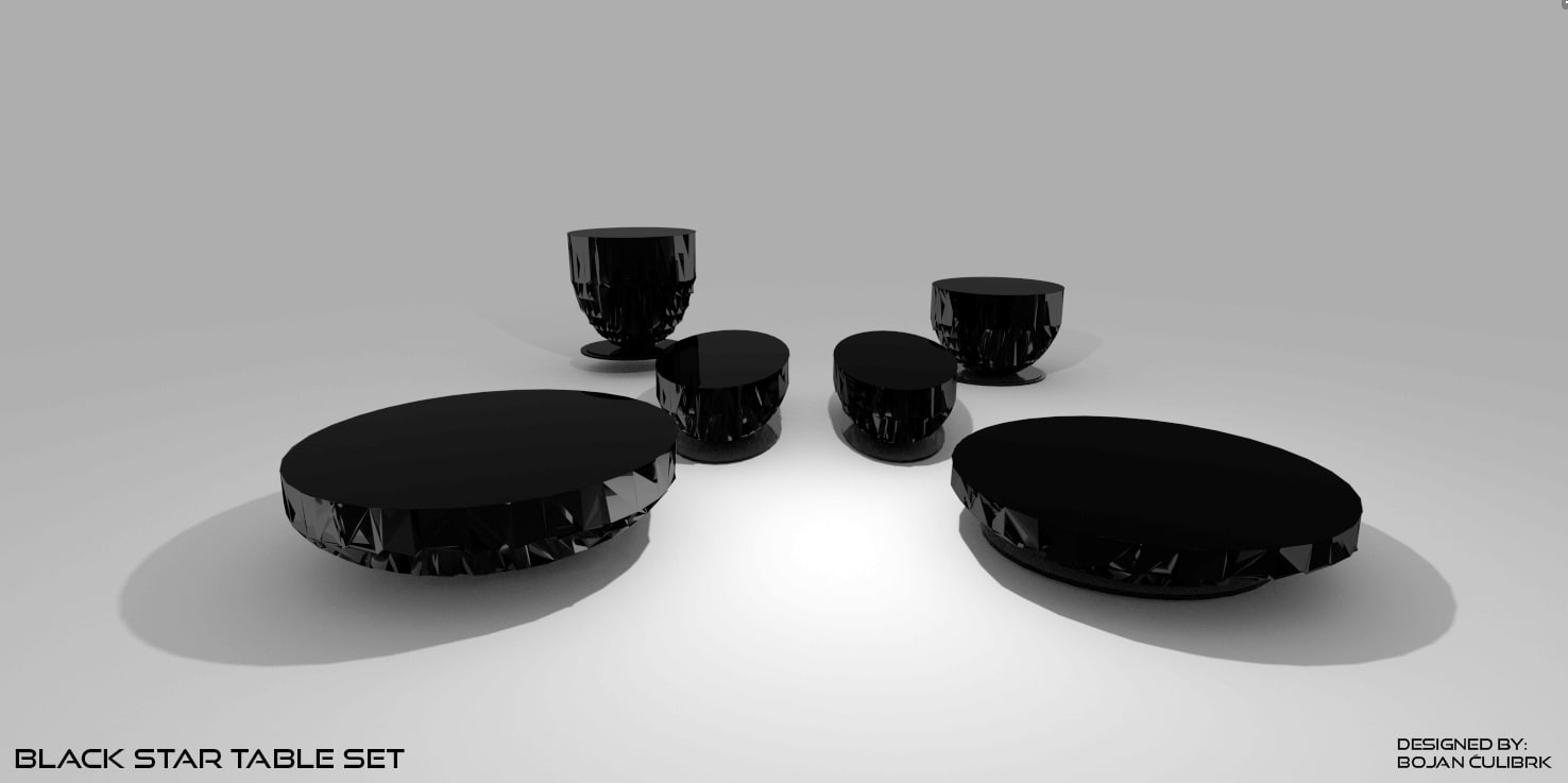 3d black star table set model