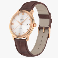 Omega Deville Prestige Pink Gold Closed Leather Strap