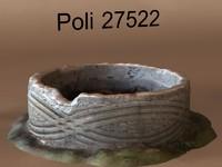 3d model old concrete pot soil