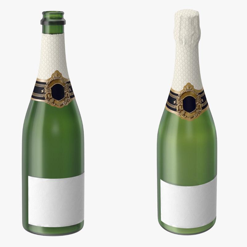 3d champagne 01 bottle open