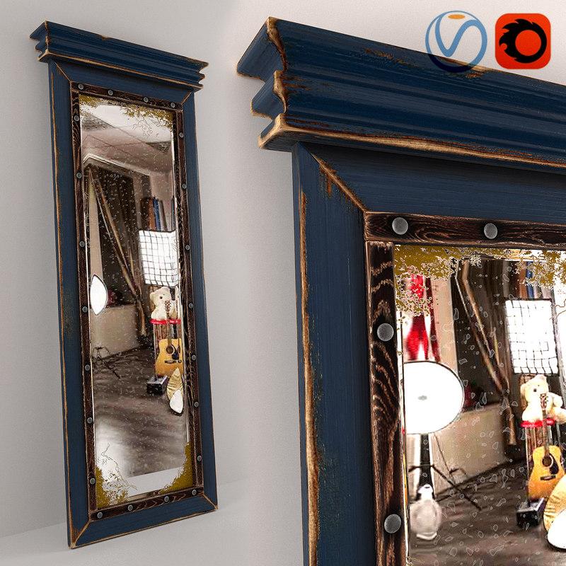 old floor mirror 3d obj