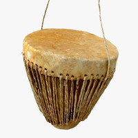 photorealistic african leather drum 3d max