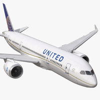 Boeing 787-3 United Airlines Rigged 3D Model