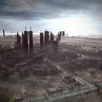 ruined city post apocaliptic 3d model
