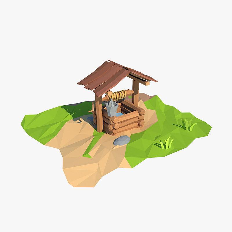 wooden cartoon 3d model