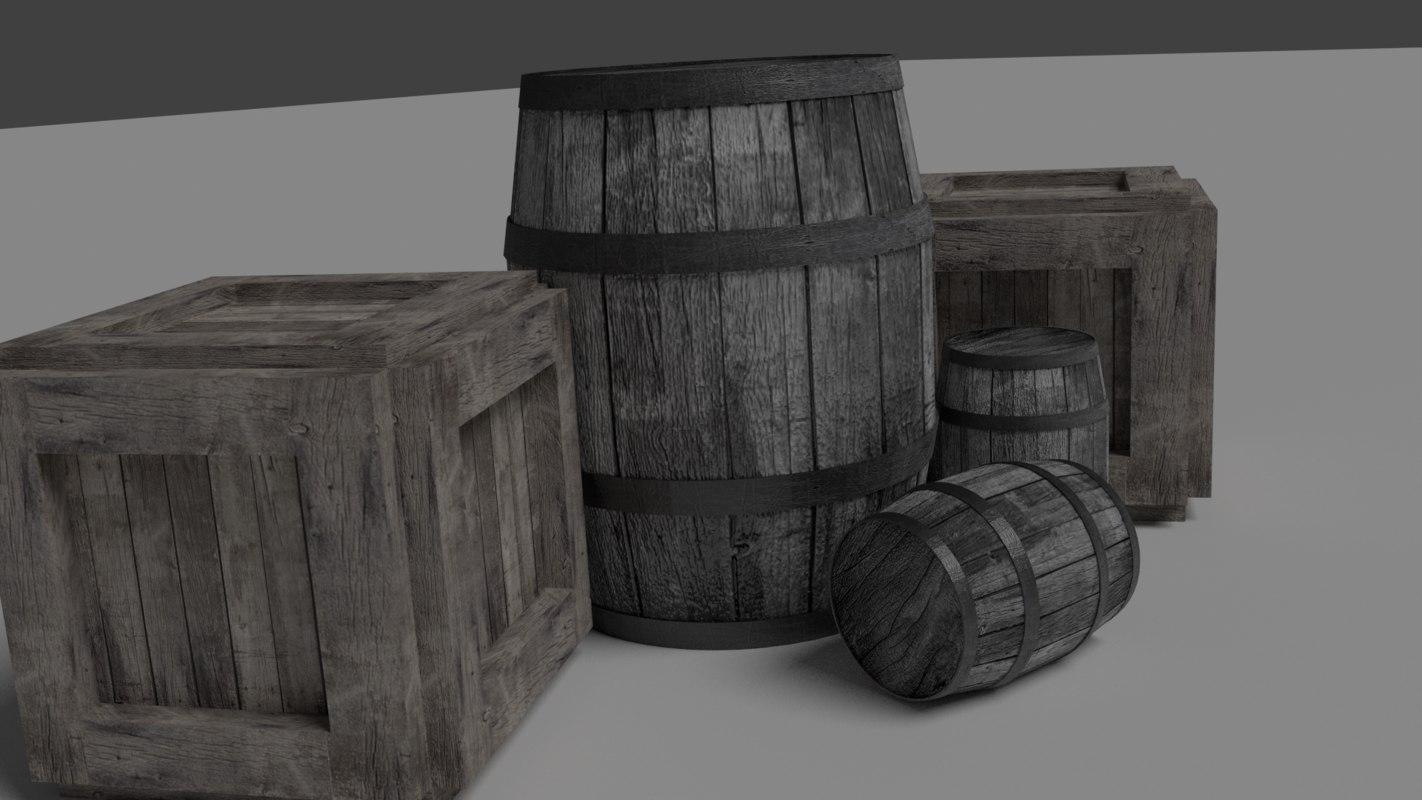 barrel crate assets 3d model