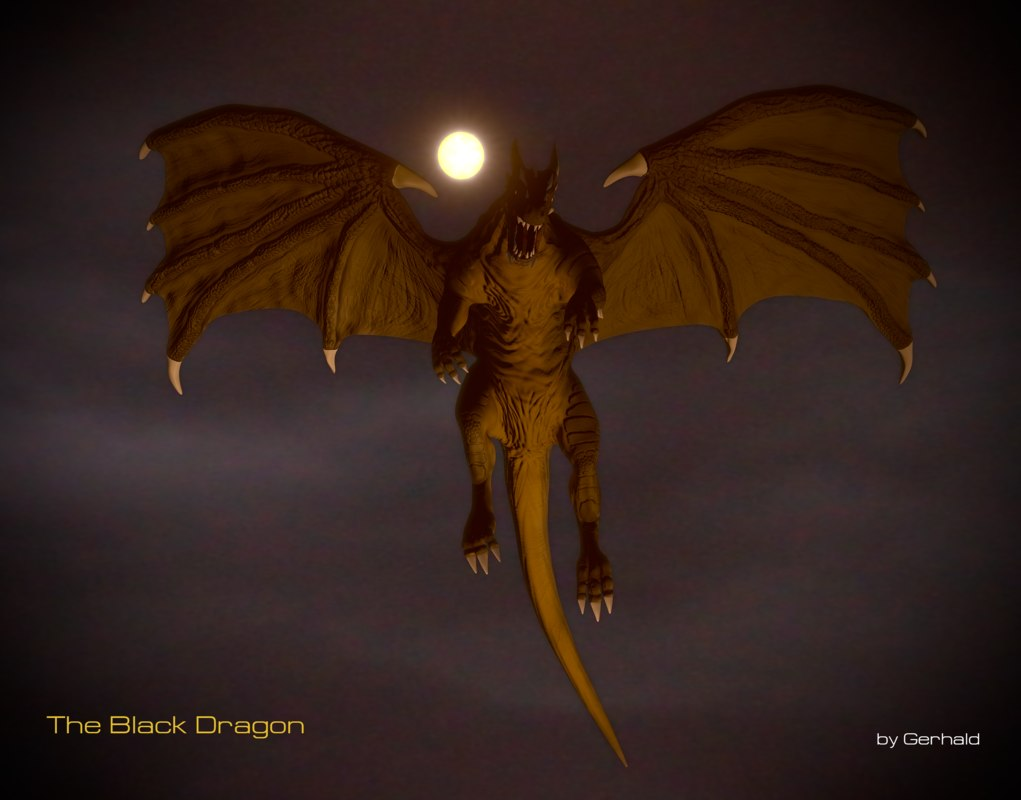 black firebreath dragon 3d blend