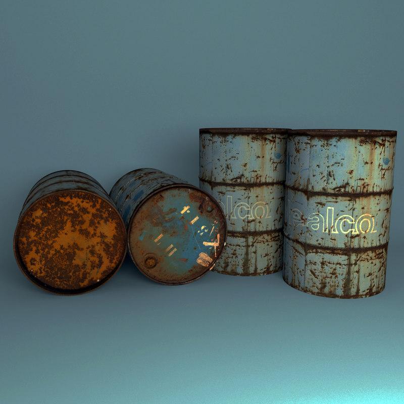 rusty barrel 3d max