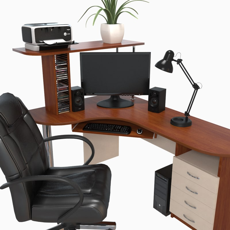 3d workstation desk model