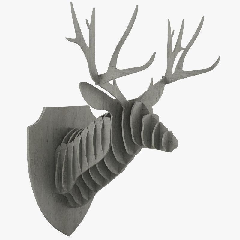 cardboard deer head 3d model