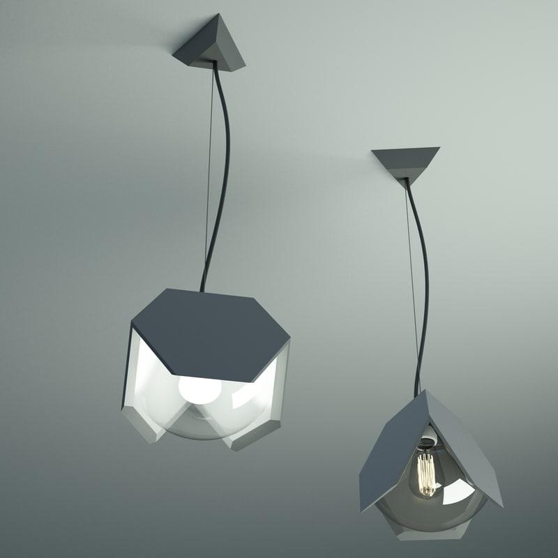 tri glass lights 3d model