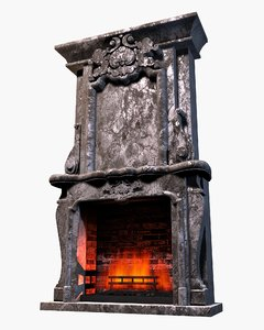3d max fireplace stone