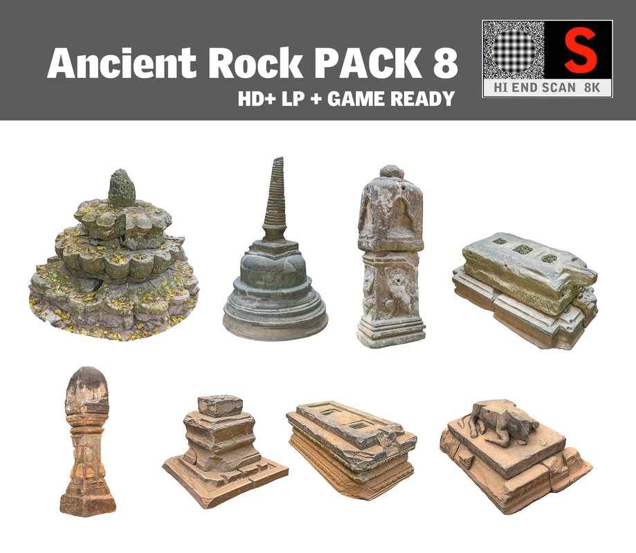 ancient rock pack 8 3d model